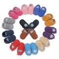Lote a granel al por mayor Nueva bebé mocasines de gamuza de cuero genuino zapatos de las borlas fringe zapato del cabrito del bebé, niña, niño marrón negro