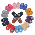 bulk wholesale New baby moccasins lot suede genuine leather baby shoes tassels fringe kid shoe toddler girl boy brown black