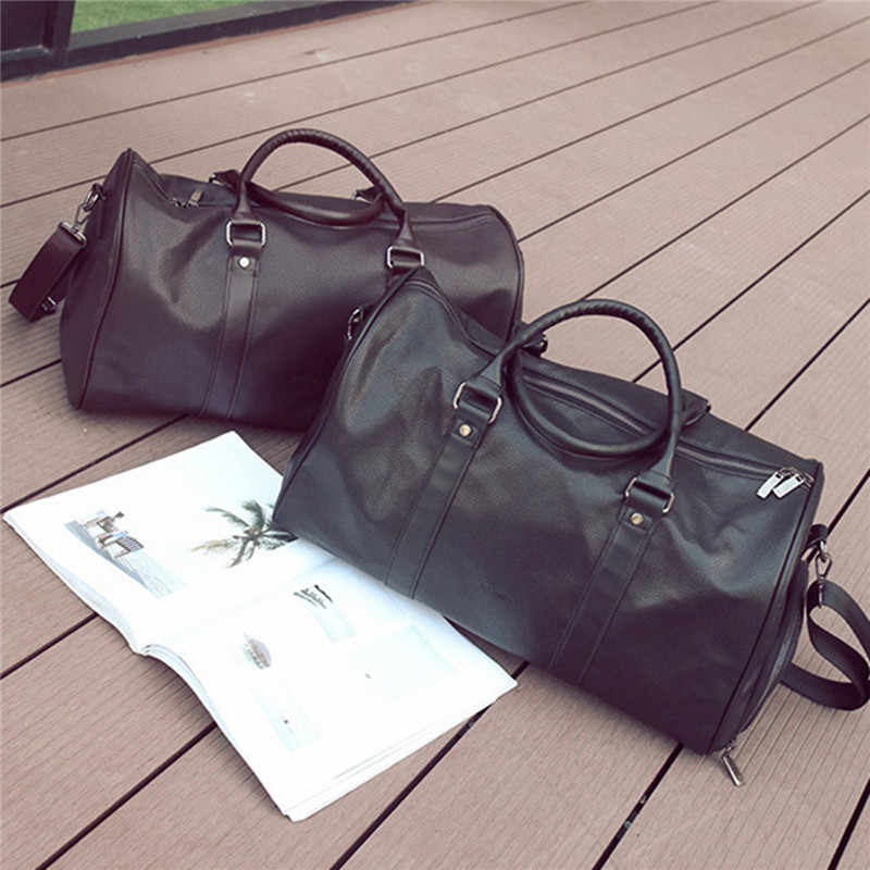 8b966c316b2160 Fitness Training Sport Gym Bag Mens Weekend Overnight Luggage Women Duffel  Totes Large Leather Handbags Shoes