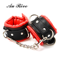 AuReve Pu Leather BDSM Bondage Fetish Handcuffs Ankle Cuffs Restraints High Quality Sex Toys For Woman Men Couple Free Shipping