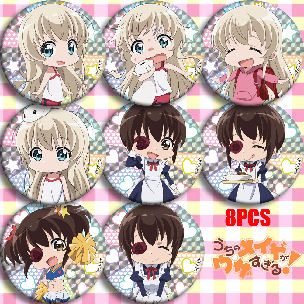Anime Uchi No Maid Ga Uzasugiru! Misha Takanashi Cosplay Bedge Cartoon Collect Bags Badge For Backpack Button Brooch Pin Gifts