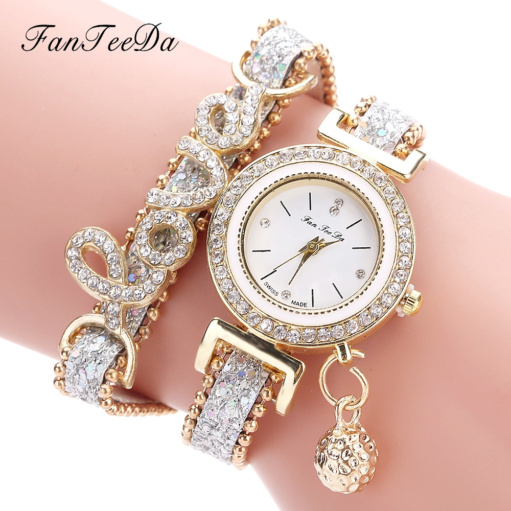 Bracelet Watch Word Ladies Love Quartz Fashion Luxury Brand Fanteeda Strap Casual