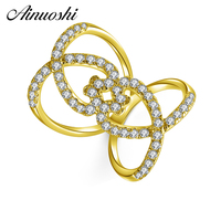 AINUOSHI Real 14K Double Hollow Heart Ring 14K Solid Yellow Gold SONA Diamond Weaving Wedding Engagement Ring for Women Jewelry