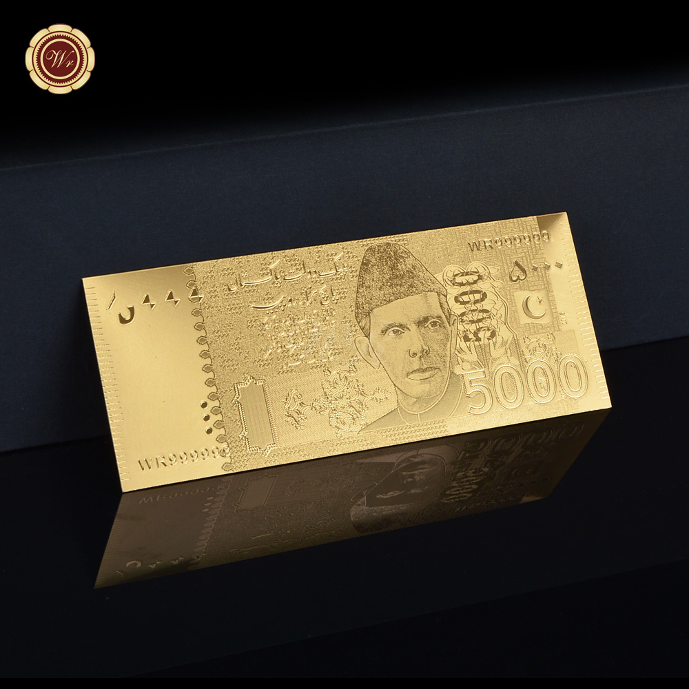 Normal Gold Plated Banknote Pakistan 5000 Rupee Made In China Normal For Gift