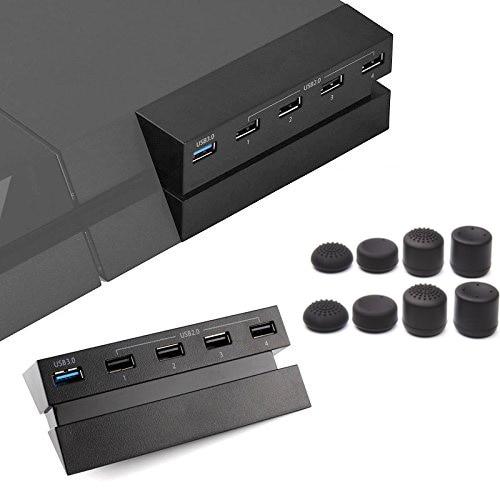 Moyeu de Port USB 5 pour hôte PS4, adaptateur d'extension de séparateur de contrôleur de chargeur haute vitesse pour Console Playsation 4 moyeu d'extension + 8 capuchons