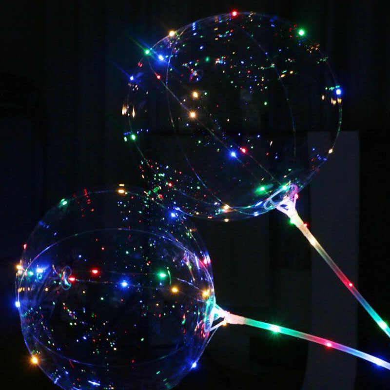 1 قطعة الهيليوم جولة فقاعة بالون بوبو شفافة بالون LED بوبو بالونات ل عيد ميلاد الزفاف الأطراف منزل زينة