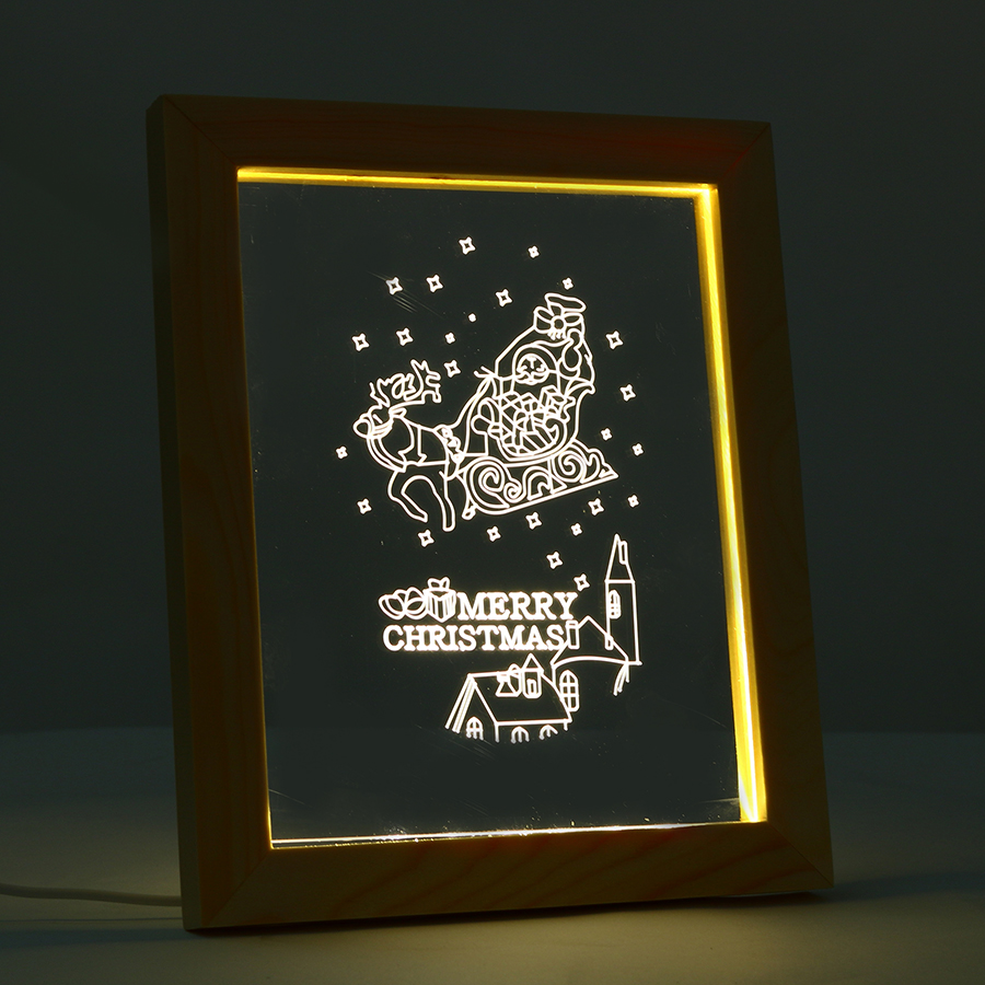 FL-711 3D Photo Frame Illuminative LED Night Light Wooden Christmas Decorative USB Lamp for In-Outdoor Fairy Decoration Lights