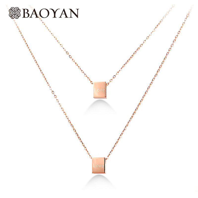 Love Magic Cube Rose Gold Color Small Clear Zirconia Inside Square Hollow Out Woman Pendant Necklace Wholesale Chain Necklaces