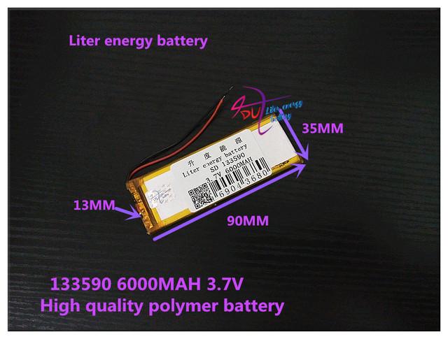 3.7 V 6000 mAH 133590 bateria De Polímero de iões de lítio/bateria Li-ion para tablet pc, mp3, mp4, PODER BANCO; DVR
