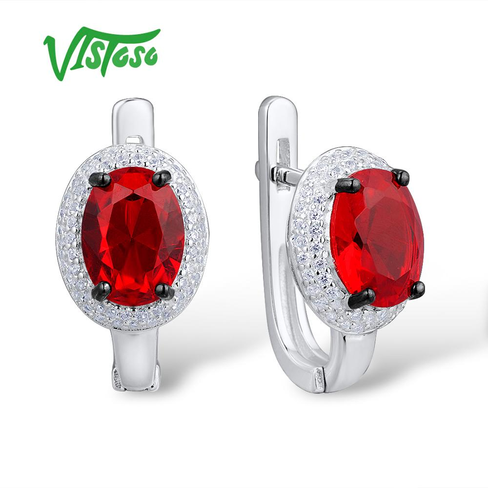 VISTOSO Stud Earrings Fine Jewelry Round Red Crystal Round White Cubic Zircon High Quality Fine Stud Earrings 2018 For Women pair of stylish rhinestone triangle stud earrings for women