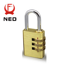 NED High Security Pure Copper Mini Lock 3 Digit Combination Password Lock Travel Luggage Code Padlock Suitcase Locks 60x21x10 MM(China)