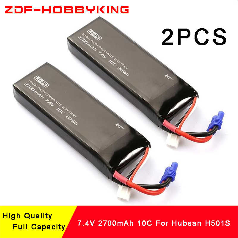 ZDF New Arrived 2PCS Hubsan H501S X4 RC Quadcopter Spare Parts 7.4V 2700mAh 10C Battery H501S-14 For RC Quadcopter Part