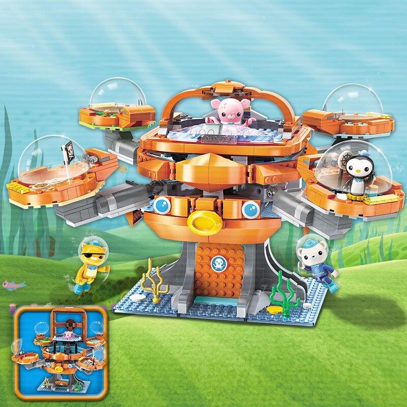 Criador idéias cidade les octopus octood octonauts desenhos animados blocos de construção modelo conjuntos crianças brinquedo compatível duplo iluminar