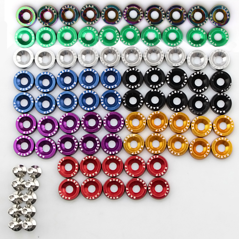 10pcs Car Modified Hex Fasteners Fender Washer Bumper Engine Concave Screws Aluminum Washers And M6 Bolt For Honda QRF002 TP in Nuts Bolts from Automobiles Motorcycles