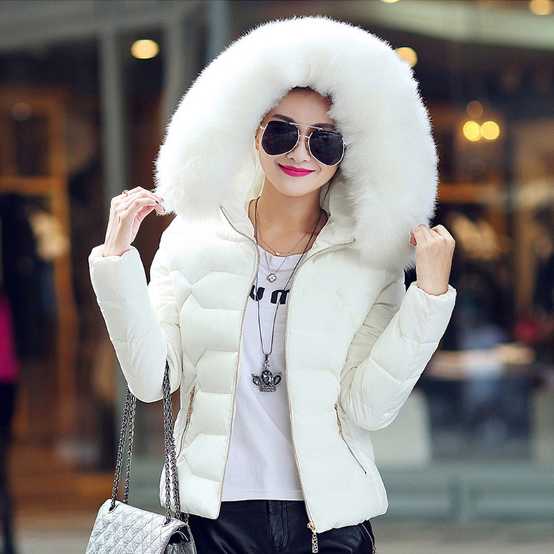 Winter Short Women Jacket Coat Cotton Warm Fur Hooded Parkas Women Outwear Zip Casual Fashion Black Warm Female Coats WT4583 5