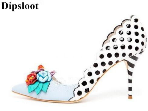Dipsloot 2018 3D Flower Embellished Slip-on Dress Shoes Party Shoes For Ladies Sexy Pointed Toe High Heels Shoes Woman Pumps 2018 spring pointed toe thick heel pumps shoes for women brand designer slip on fashion sexy woman shoes high heels nysiani