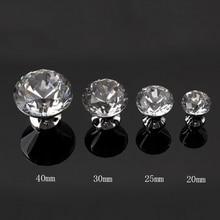 Diameter 30mm Clear Crystal Alloy Handle Knobs Cabinet Door Handles