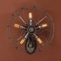 Стиль вентилятора Лофт промышленный настенный светильник винтажное Домашнее освещение столовая Эдисон Ретро Настенный бра светильник