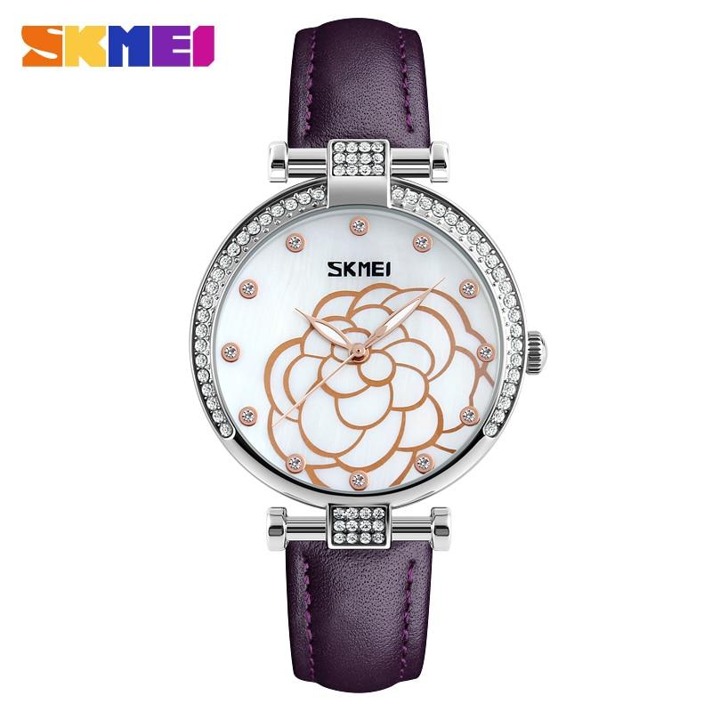 SKMEI Women's Luxury Leather Strap Quartz Watches Fashion Rose Flower Wristwatches Casual Ladies Crystal Watch Relogios Feminino