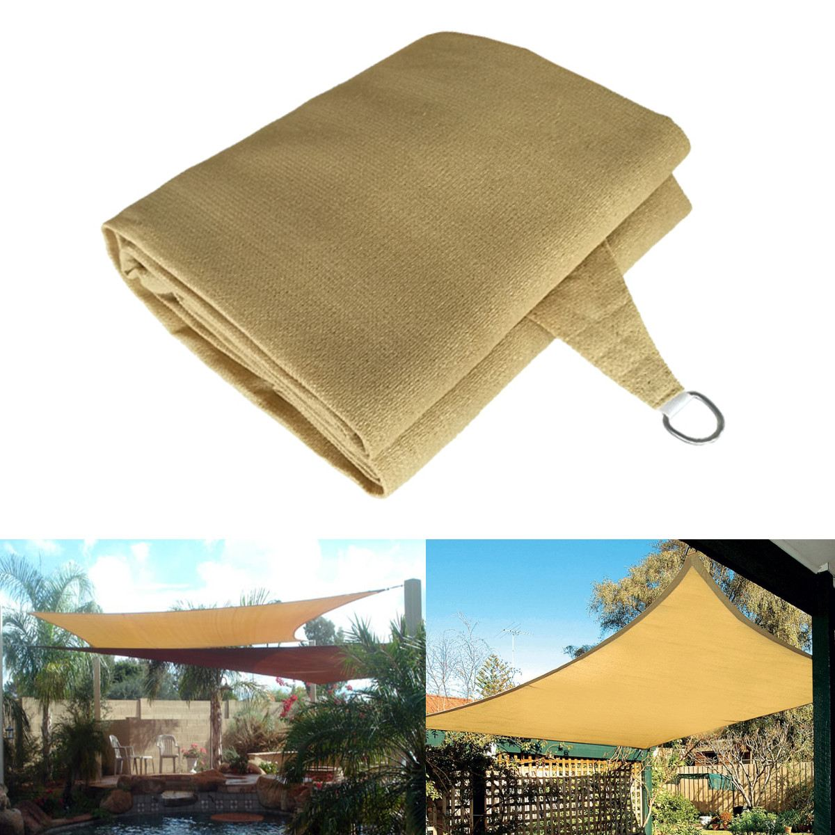 Outdoor 6X4m UV Protection Polyester Sun Shade Sail Garden Top Canopy Cover Patio Pool Waterproof Rectangle new Awning zhuoao outdoor 3 4persons pergola canopy tent awning large outdoor rain uv shade with rain cover include one set front pole