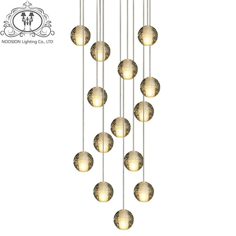 NOOSION Avize Modern Ball Pendant lights LED Crystal For Dining Room Loft Stair Glass Ball Light Meteor Shower Rain plafondlamp 3head crystal light ball aluminum pendant light child real dining room pendant light modern fg964