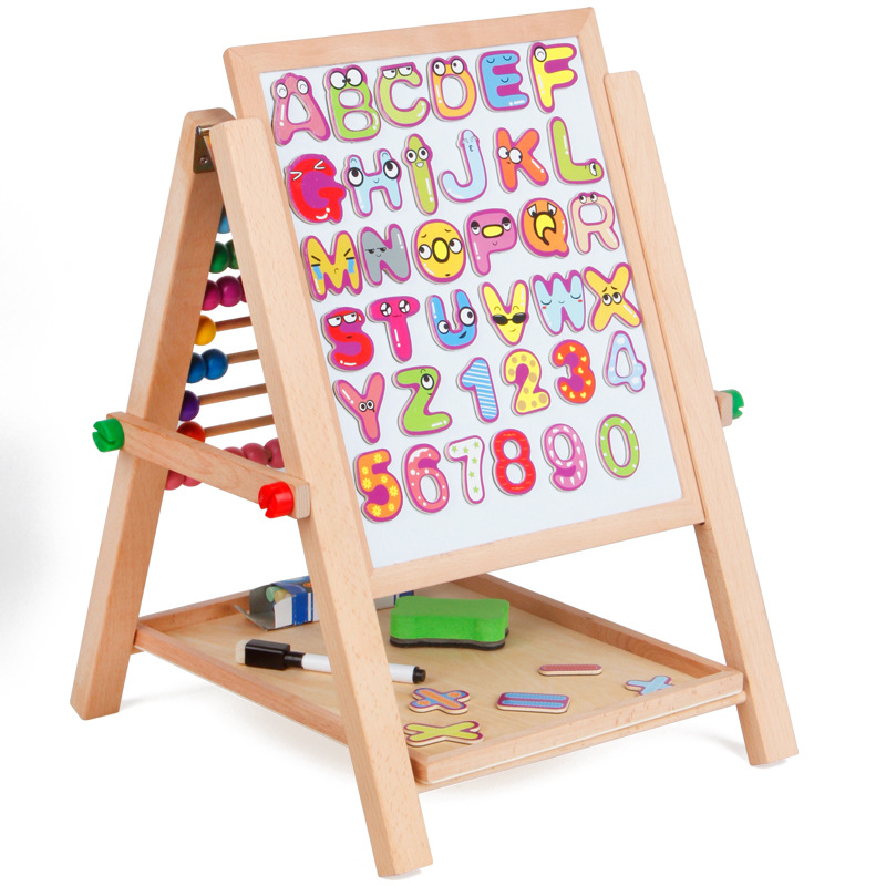 1 Set Magnetic Double Faced Educational Wooden Blackboard Multifuncational Baby Learning&Education Drawn Board Drawing Toys Gift