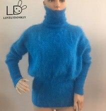 LOVELYDONKEY genuine mink cashmere sweater women cashmere pullovers knitted pure mink jacket  free shippingM507