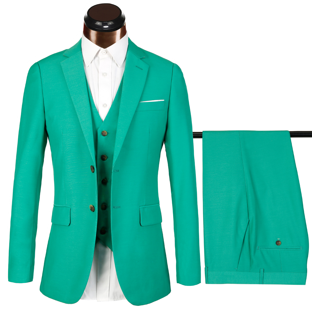 Brand 2018 New Design Green Men Suit Fashion Casual Solid
