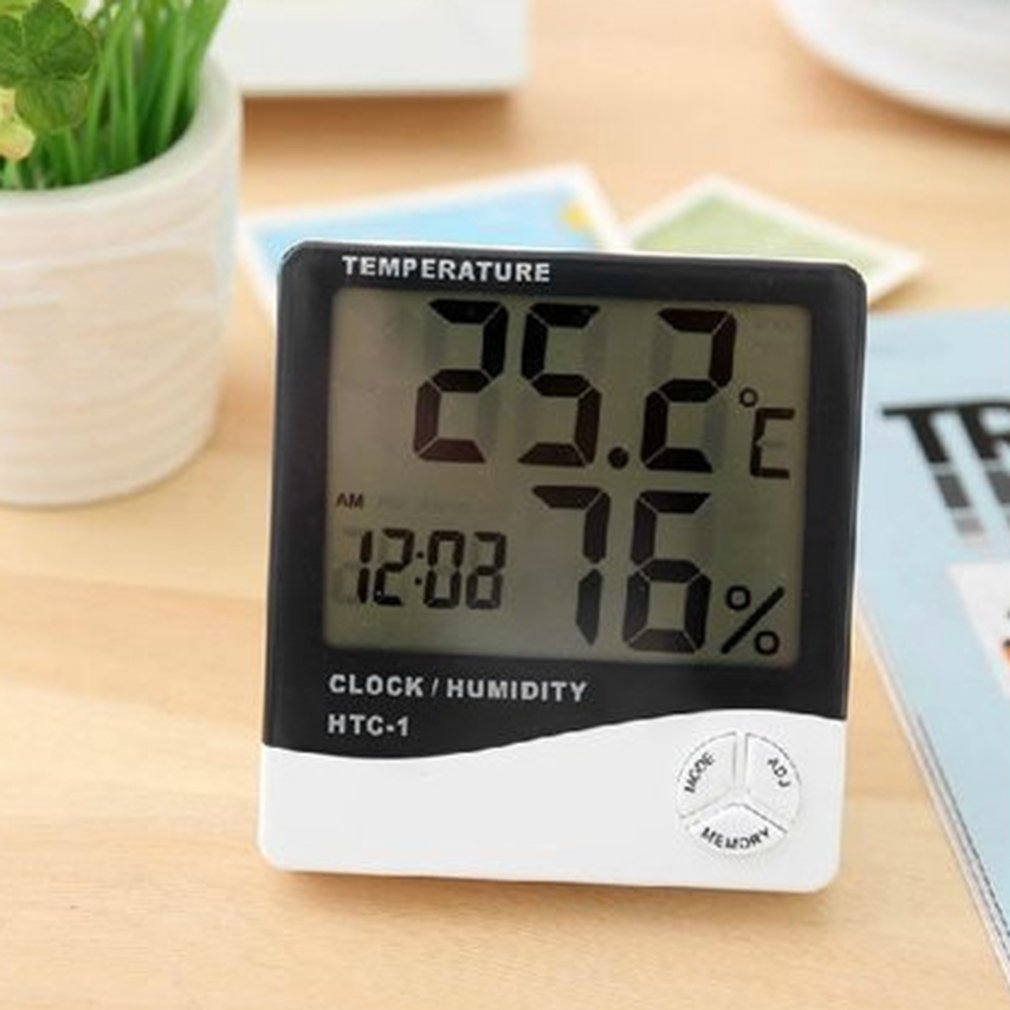 Digital Thermometer Temperature with Alarm Clock Function Calendar and Humidity Display 12/24 Hours Setting Digital Timers