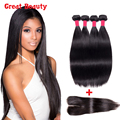 8A Peruvian Virgin Hair Lace Closure With Bundles 100% Peruvian Straight Wet And Wavy With Closure Peruvian Hair with Closure
