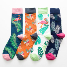 CHAOZHU Tropical Leaf Native Fashion Flamingo Men Big Size Footwear Cotton Crew Executive Length Fancies Footed