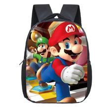 Cartoon Mario Sonic plecak dla dzieci torby szkolne dla dzieci Plecak dla malucha dla dzieci przedszkole torba chłopcy dziewczęta Bookbag najlepszy prezent tanie tanio Poliester zipper Unisex Polyester 4414 0 25 KKABBYII