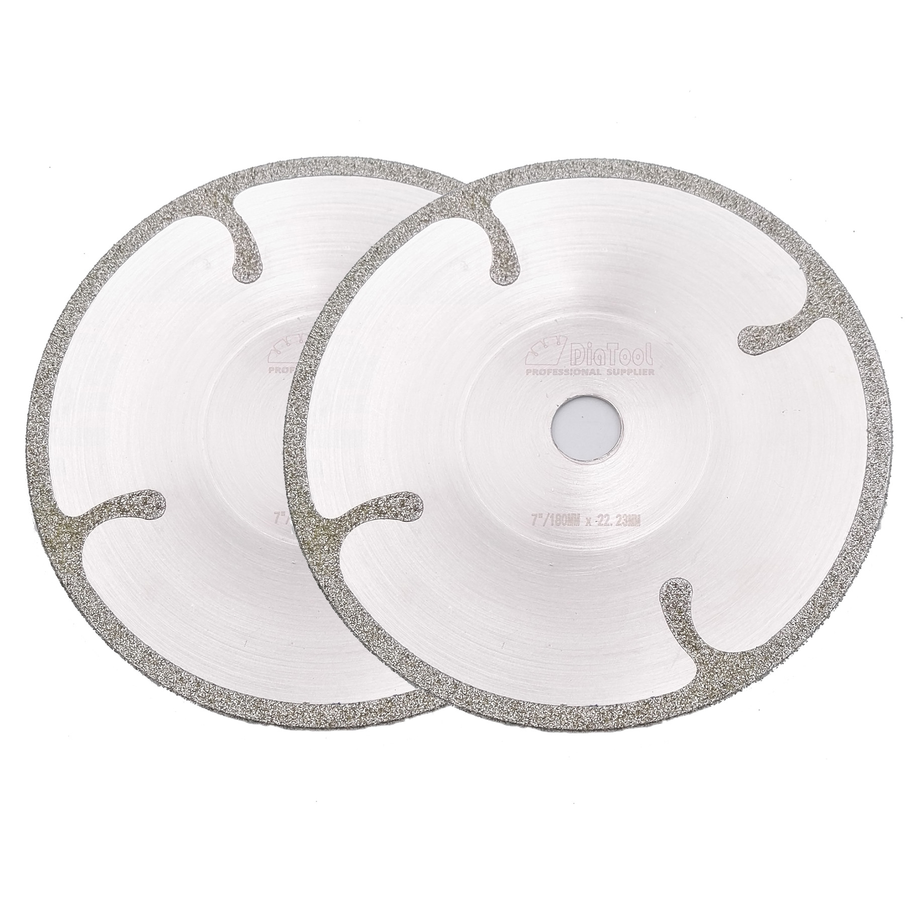 DIATOOL 2pcs 7 Bowl shaped Electroplated diamond cutting disc with Protection 180MM coated diamond saw blade for granite marble