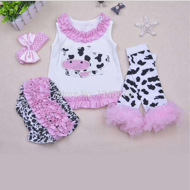 2016 New Body Baby Baby Romper Girl Suits Headband 4piece Set Infant Clothing Sets;1st Birthday Outfits Lovely Princess Dress