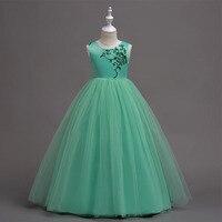 5-16 שנים ירוק מקיר לקיר ארוך שמלות נערות שמלות נסיכת רקמת חתונת מסיבת יום הולדת מלא תחפושות vestidos