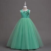 5 16 Years Teen Girls Green Floor Length Long Dresses Wedding Birthday Party Princess Frocks Embroidery