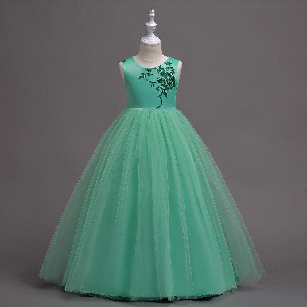 5-16 años Teen Niñas verde piso-longitud vestidos largos de la boda ...
