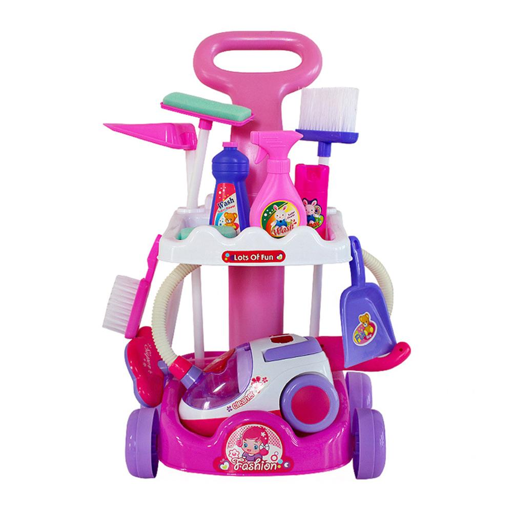 Large Cleaning Cart Play Set Household Appliances Tools Pretend Vacuum Cleaner Cleaning Trolley Kid Cleaning Supplies Toy