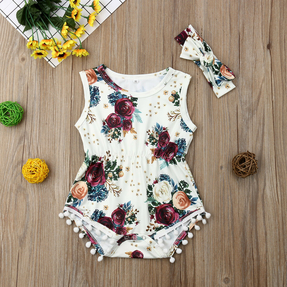 For Toddler Baby Girl Floral  Bodysuit With Headband Outfit Set Clothes