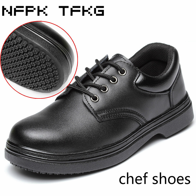 Men 39 S Black Large Size Steel Toe Cap Work Safety Shoes Soft Leather Non Slip Kitchen Chef Cook
