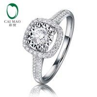 CaiMao великолепный Halo 0.1ct круглый натуральный бриллиант обручальное кольцо Настоящее 14 к 585 Белое золото ювелирные изделия для женщин