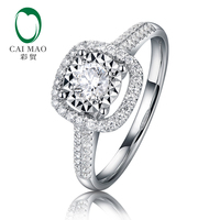 CaiMao Gorgeous Halo 0.1ct Round Natural Diamond Engagement Ring Real 14k 585 White Gold Jewelry For Women