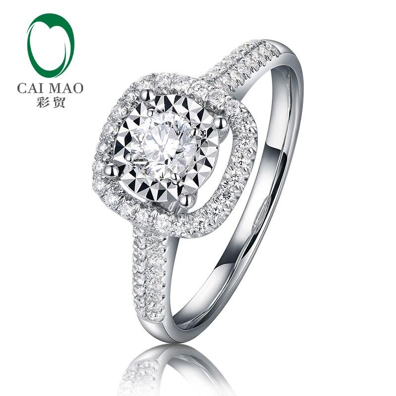 CaiMao magnifique Halo 0.1ct rond diamant naturel bague de fiançailles réel 14k 585 bijoux en or blanc pour les femmes