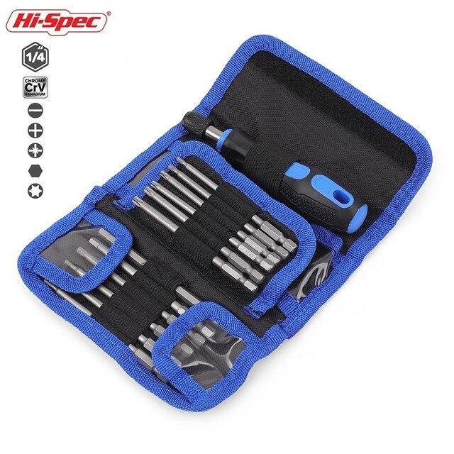 Hi Spec 25pc Extra Long Reach Screwdriver Bit Set Torx Screwdriver Set Kit Multitool Screw Driver Tools Set Hand Tools in Bag