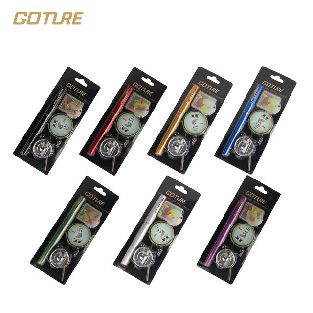 Goture New Pen Fishing Rod Mini Pocket Fishing Reel and Rod Combos Aluminum Alloy Portable Telescopic Pole Extended 0.99m