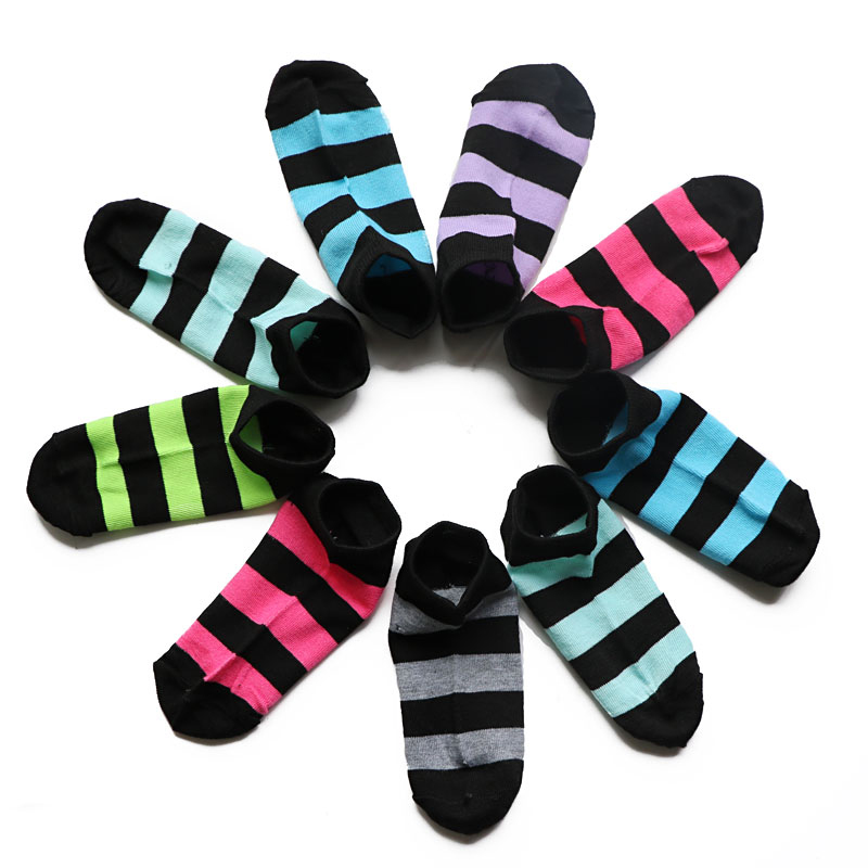 12Pairs Men Dress Socks Striped Men Ankle Invisible Boat Socks Candy Color Cotton Blend Short Socks Meias Calcetines Masculinas