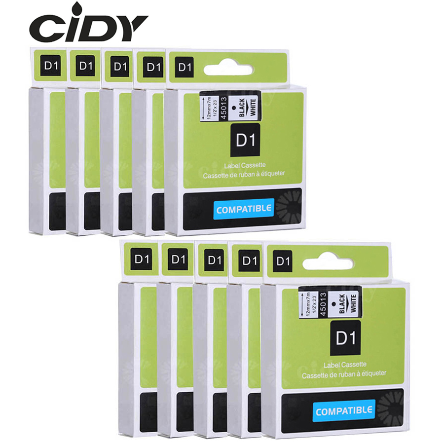 CIDY Dymo D1 45013 12mm Black On White Compatible For DYMO D1 Label Tape 45018 45010 45021 For Label Manager Maker 210 450 LM160