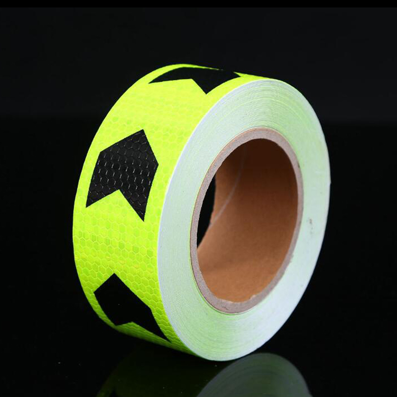 5cm Width Fluorescent Yellow Safety Mark Reflective Tape Stickers Car-Styling Self Adhesive Warning Tape