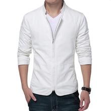 Marke Weiße Jacke Männer 2015 Modedesign Herren Slim Fit Windjacke Beiläufige Stilvolle Blazer Reißverschluss Jacken Veste Homme 3XL