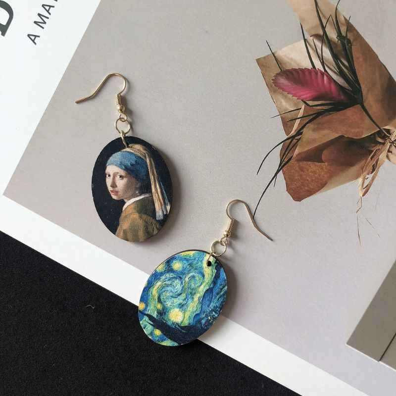 LUKENI 1 pieza de pintura al óleo de Arte de Van Gogh estrellas pendientes de perlas Johnes Vermee niñas mujeres pendientes de madera Natural joyería de moda